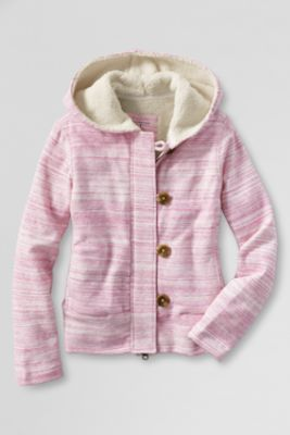 Girls' French Terry Sherpa Lined Hoodie from Lands' End