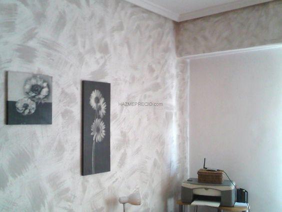 Pinturas decorativas trabajo en habitacion con gotele eliminado de gotele y posterior - Pintura decorativa paredes ...