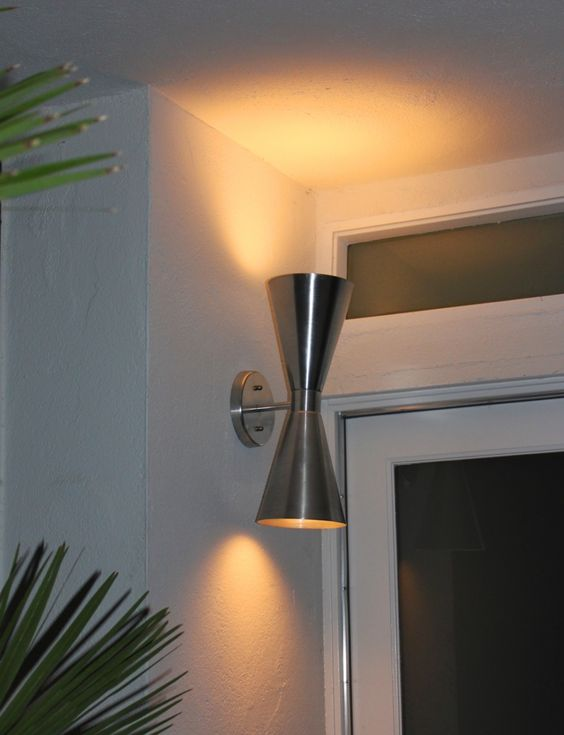 The Sconce is a mid-century modern style light fixture perfect for any outdoor (covered) entryway, garage or patio.  This modern sconce is made from spun aluminum and is ultra cool. Made in the USA.    Usually ships in 5