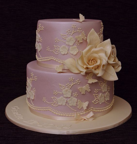 Lace and floral. Pink and cream wedding / birthday cake.