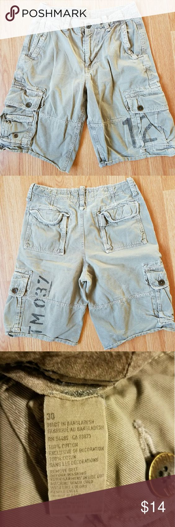 American Eagle Outfitters long shorts Faded Army Green American Eagle Outfitters cargo style men's longer length shorts. Size 30  100% Cotton no rips, tears or stains. No smoking or pets in home. American Eagle Outfitters Shorts Cargos