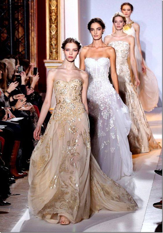 Models present creations by Lebanese designer Zuhair Murad during the Haute Couture Spring-Summer 2013 collection shows on January 24, 2013 in Paris.    AFP PHOTO / PIERRE VERDY        (Photo credit should read PIERRE VERDY/AFP/Getty Images)