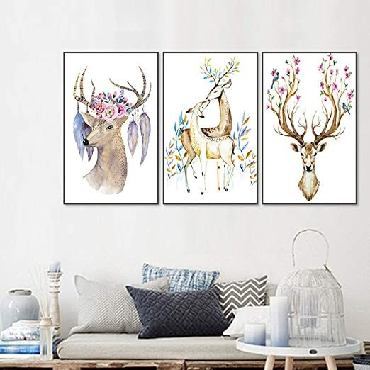 Bjzxz Decorative Paintings Vintage Animal Deer Canvas Wall Art Canvas Painting Home Decoration L Wall Art Canvas Painting Framed Canvas Wall Art Office Artwork