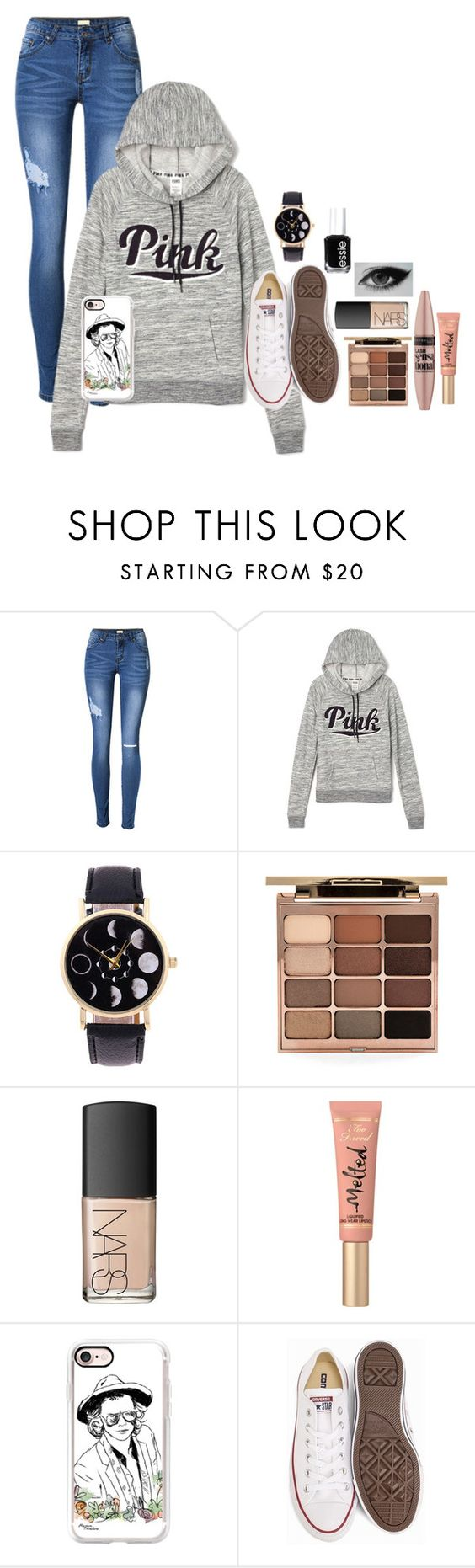 """You told me u loved me but that was just another one of your lies"" by jesuslovingirl ❤ liked on Polyvore featuring Victoria's Secret, Stila, NARS Cosmetics, Maybelline, Too Faced Cosmetics, Casetify, Converse and Essie"