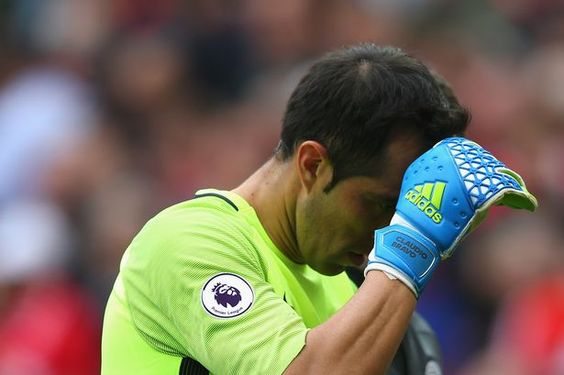 Claudio Bravo had a torrid time on his Manchester City debut in the derby fixture at Old Trafford