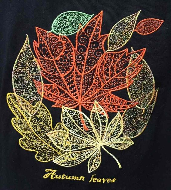 Autumn leaves fsl free machine embroidery designs by