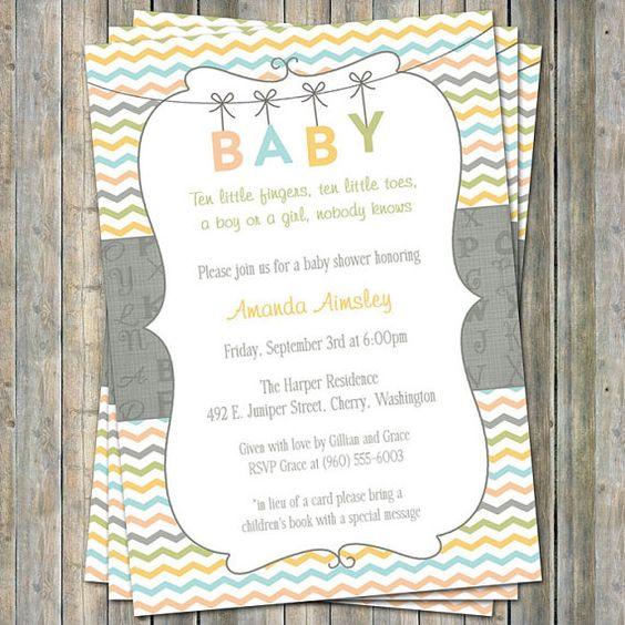 Alphabet BABY shower invite, Gender Neutral digital, printable file (any colors) on Etsy, $13.00