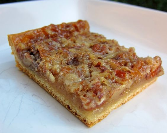 Pecan Bars- Made with crescent rolls I am happy to find this.  Years ago I made these with a packaged dry frosting mix that is not available any longer...