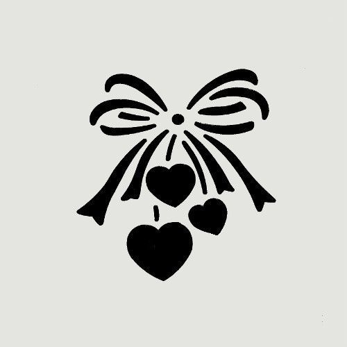 Heart stencil hearts bow ribbon bows templates craft ...