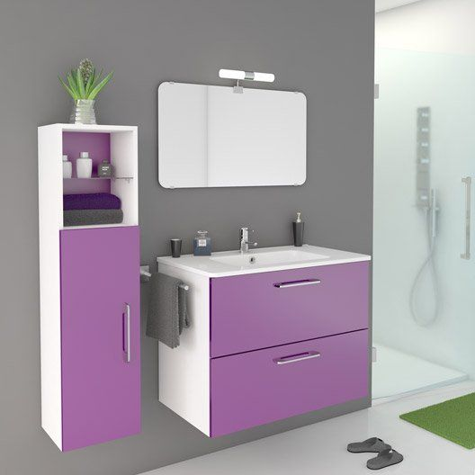 meuble de salle de bains happy violet tulipe n 3 81x46 cm 2 tiroirs salle de bain mauve. Black Bedroom Furniture Sets. Home Design Ideas