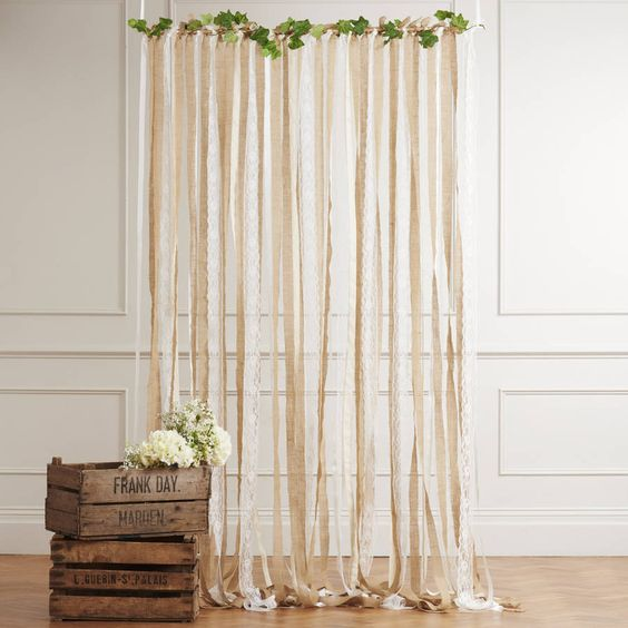 wedding ribbon curtain in hessian and lace by just add a dress   notonthehighstreet.com