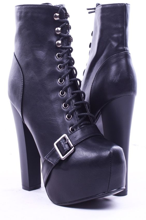 BLACK FAUX LEATHER LACE UP PLATFORM CHUNKY HEEL TIMBERLAND BOOTIE ...