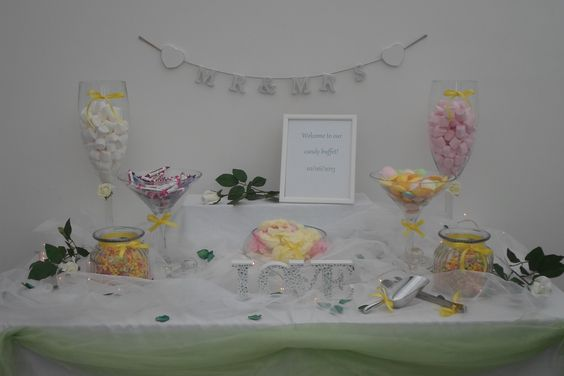 Our wedding candy buffet using a garden theme!