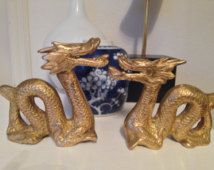 Vintage Asian Brass Dragon Figurines Chinoiserie Dragons Brass Dragon Figurines MCM Brass Dragons Bookends
