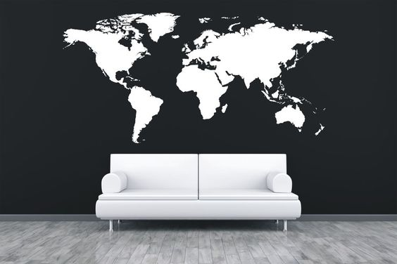 World map (extra large sizes) - Vinyl wall art office sticker - WS1047