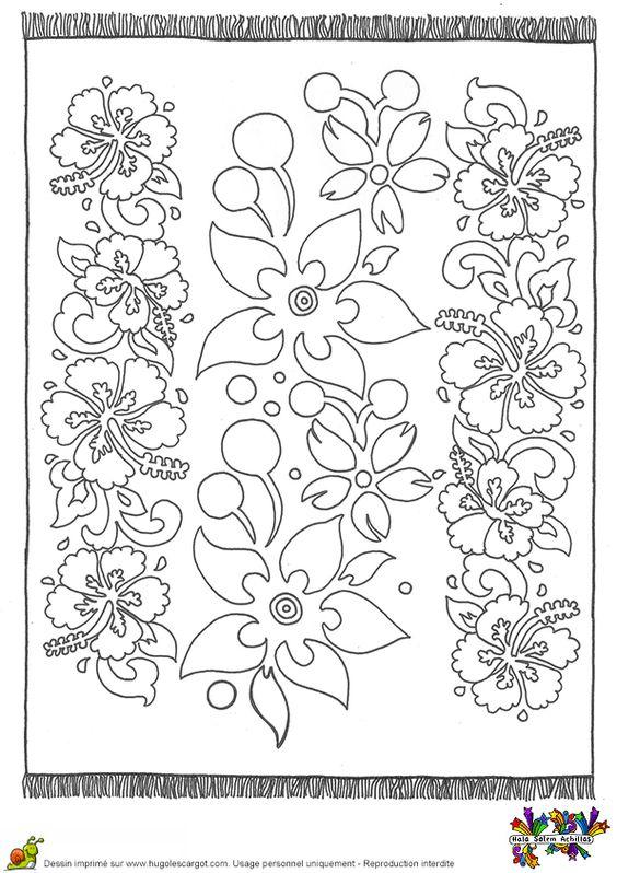 A colorier un tapis de type tahitien orn avec de jolies fleurs coloriages tapis du monde - Tapis coloriage ...