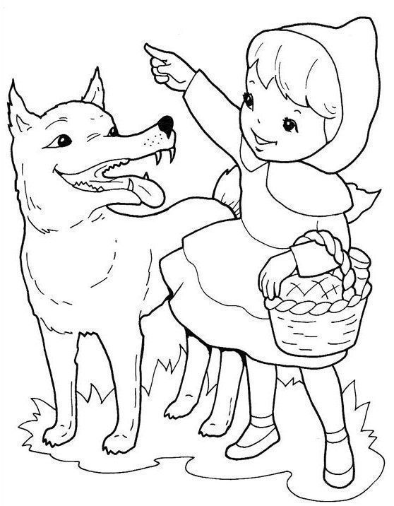 Caperucita Roja Y El Lobo Para Colorear Red Riding Hood Art Red Riding Hood Wolf Little Red Riding Hood