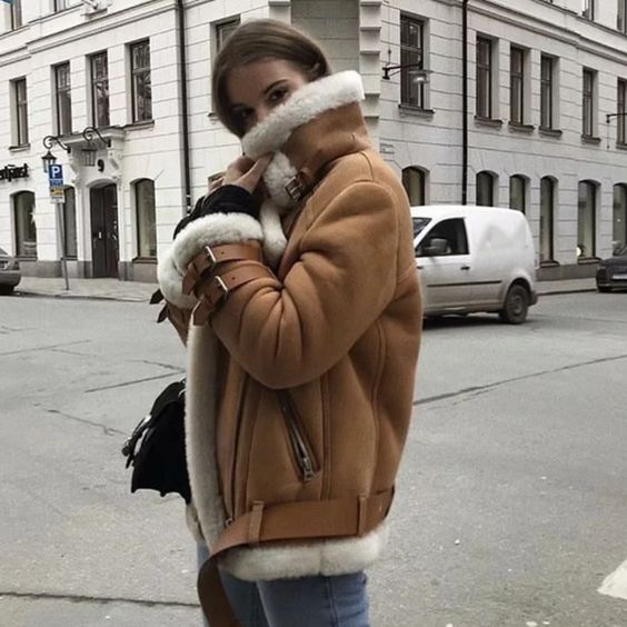 fur leather moto jacket thick biker coats brown faux. Get 10% OFF clothes for chilly months