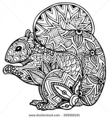 Zentangle Style Vector Squirrel Coloring Pages For Grown Relaxing Coloring Book Zentangle Animals Coloring Pages