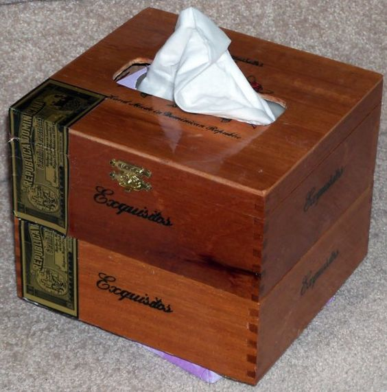 upcycled cigar box | ... Tissue cover or caddy Upcycled Spanish cedar cigar box Fine woodwork