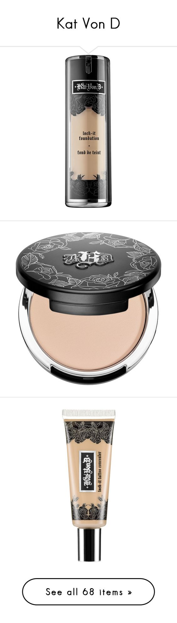 """""""Kat Von D"""" by shoppings9 ❤ liked on Polyvore featuring beauty products, makeup, face makeup, foundation, paraben free foundation, moisturizing foundation, kat von d foundation, spray foundation, matte finish foundation en beauty"""