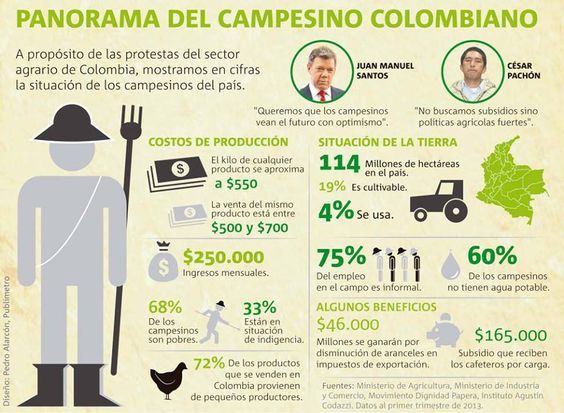 A propósito de las protestas del sector agrario de Colombia, mostramos en cifras la situación de los campesinos del país
