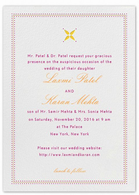 Indian Wedding Invitation Wording Template Marriage