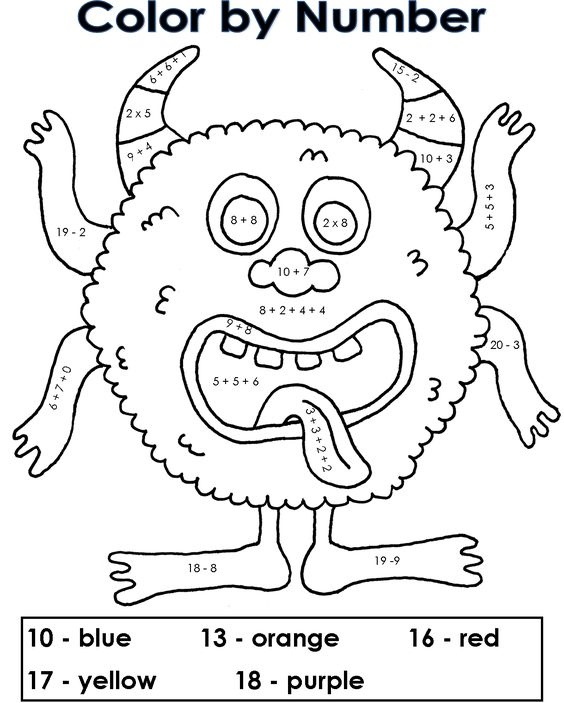 Simple Mix Of Addition Subtraction And Multiplication Addition Coloring Pages Grade