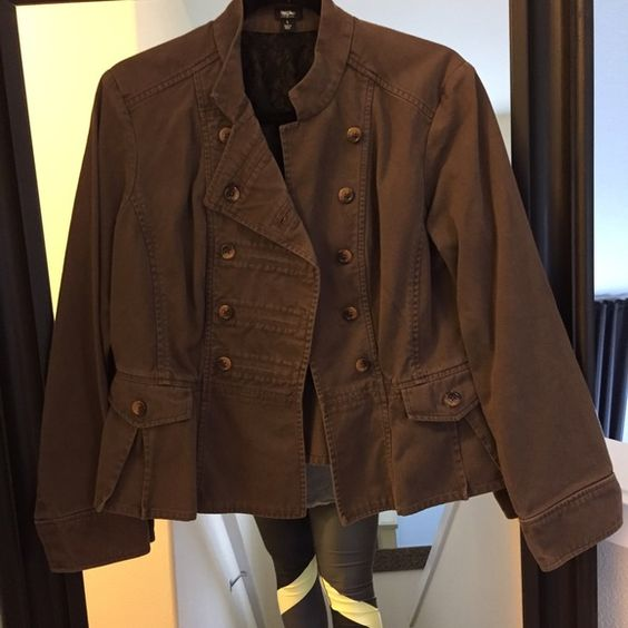 Military style jacket Great for the office or a night out! Gently worn, very flattering. Like a green/brown color Mossimo Supply Co Jackets & Coats Blazers