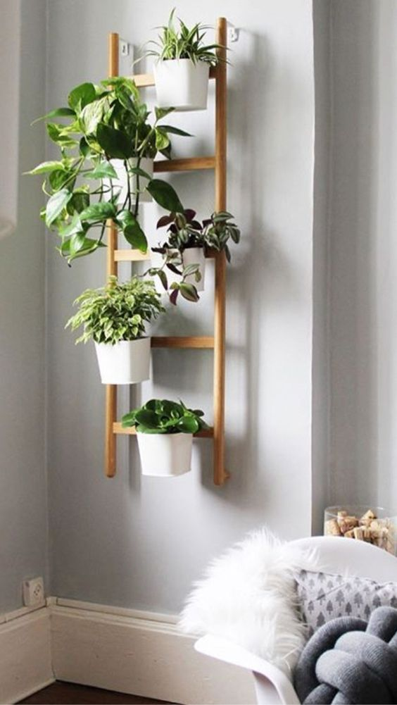 Scala a pioli per giardino verticale - Wood ladder for green decor - enjoy your Home! #bedroomplants
