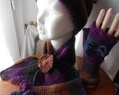 Ensemble CHAMONIX, bonnet,écharpe et mitaines tricotés à a main : Chapeau, bonnet par misty-tuss-tricote - laine BIG DELIGHT