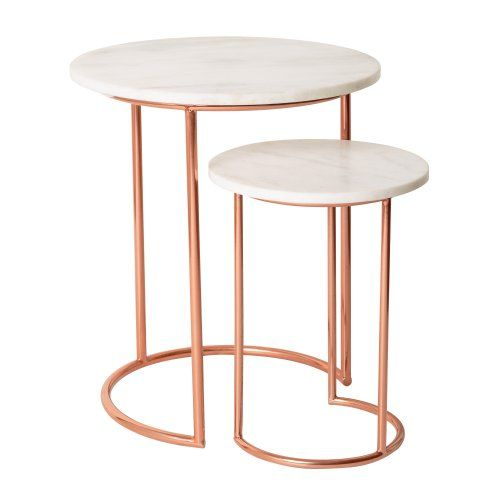 Mixing classic and modern design and combining smooth cool marble with a warm copper effect frame, our Muse Marble & Copper Nesting Tables call for pared back city living.