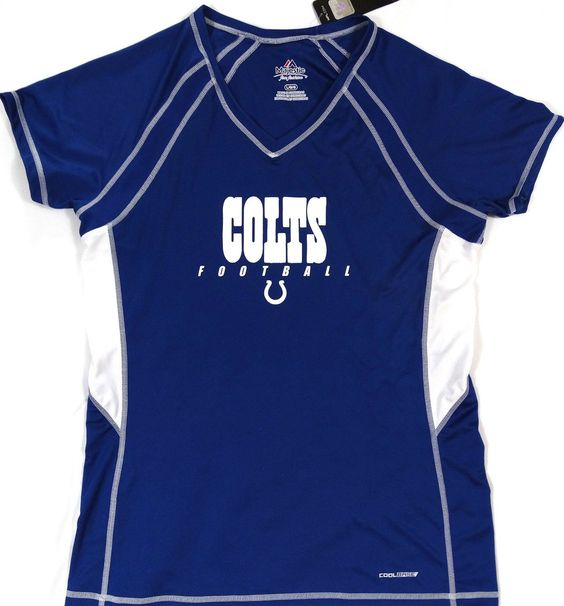 Indianapolis Colts Majestic CoolBase Vneck T Shirt Womens Size L