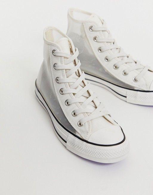 Converse – Chuck Taylor All Star Hi – Weiße Sneaker aus Mesh