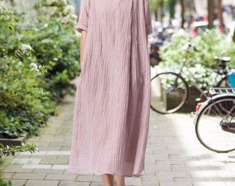 spring Loose fitting Long Maxi dress linen Hooded long by MaLieb