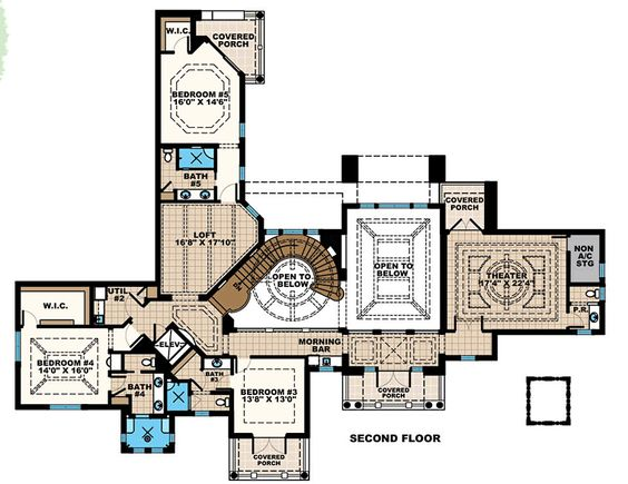 Florida Mediterranean House Plan 75933 Level Two