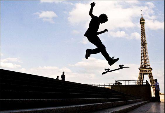 Skateboarder by the Eiffel Tower