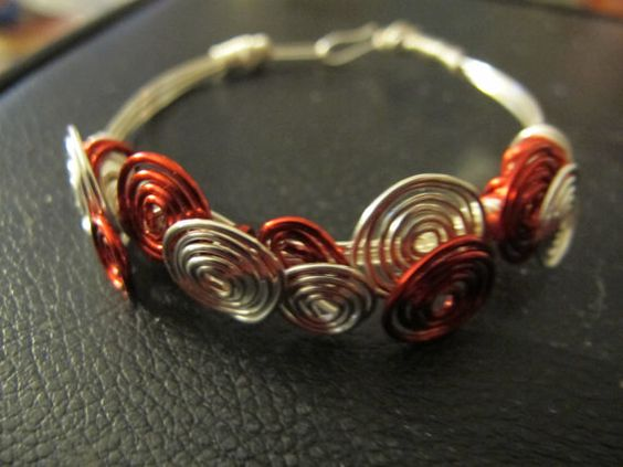 Bracelet silver wire wrapped bangle red silver by Naomirabinowitz, $20.00
