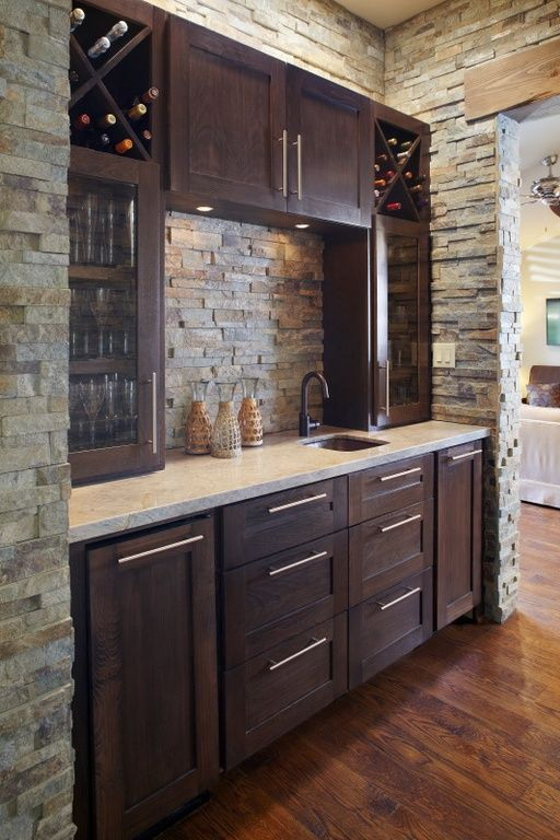 Contemporary Bar with Hardwood floors, Style selections 7-1/2-in center-to-center brushed satin nickel bar cabinet pull