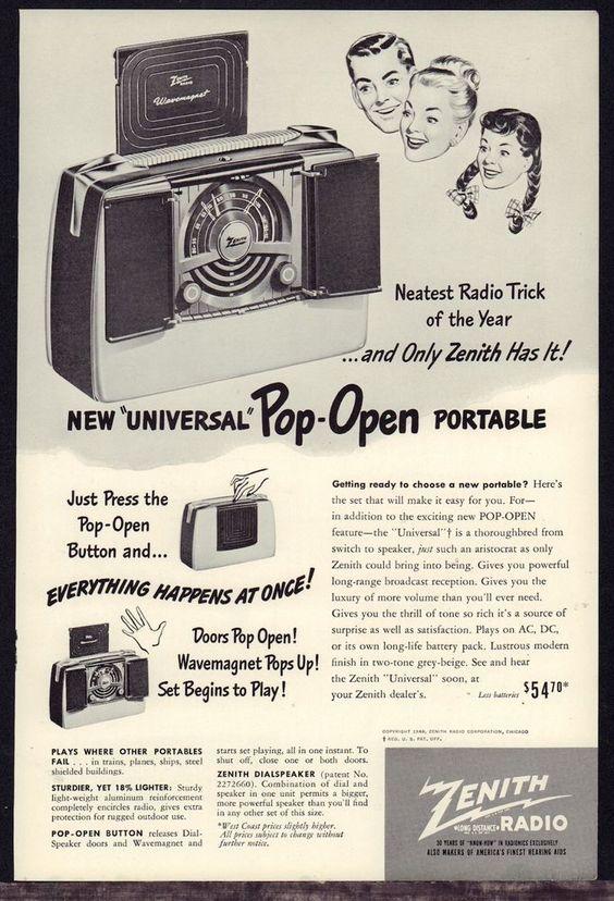 1949 ZENITH Universal Pop Open Portable Radio Vintage PRINT AD