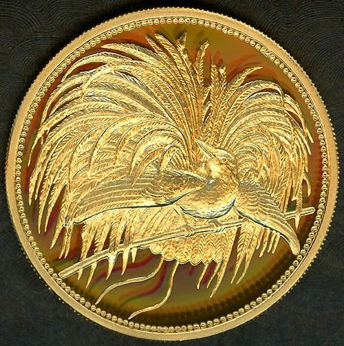 Papua New Guinea 50 Kina, Bird of Paradise gold coin