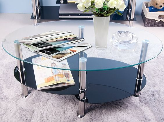 Life Carver Cara Oval Coffee Table in Clear and Black Glass With Chrome Legs…