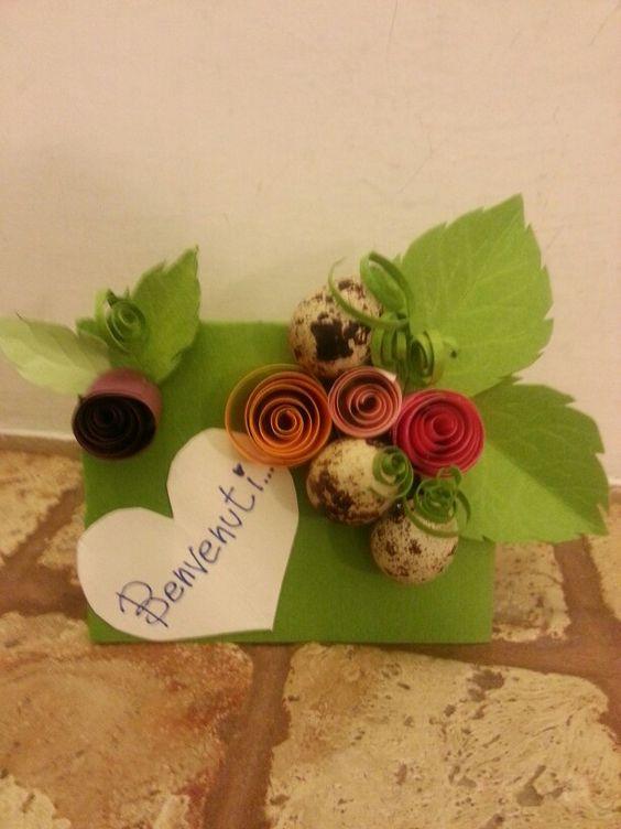 Uova di quaglia /fiori, farfalla e foglie in cartoncino colorato (Glo`)