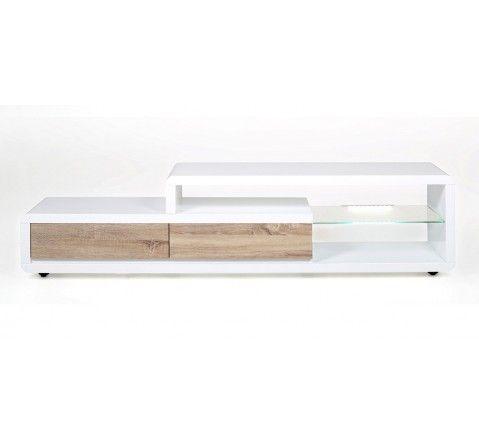 meuble tv design alice ii laqu blancbois led 180 cm dco salon pinterest tvs - Meuble Bois Et Blanc Laque