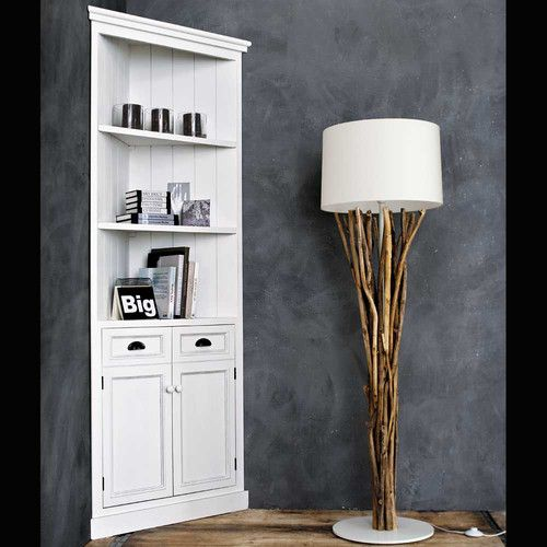 meuble d 39 angle en bois blanc l 84 cm meuble d 39 angle. Black Bedroom Furniture Sets. Home Design Ideas