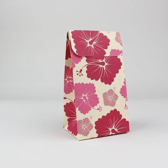 Hawaiian favor bag, hibiscus wedding,red wedding favor box,hibiscus ...