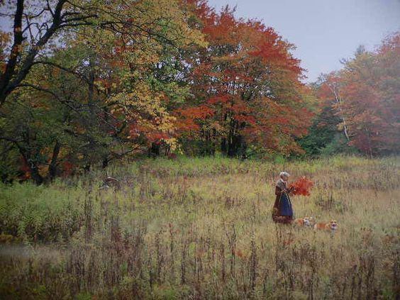 Tasha Tudor gathering fall leaves: