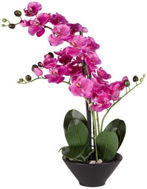 Multi Stem Purple Faux Orchids in Black 21-Inch-H Pot - #EU2W774 - Euro Style Lighting