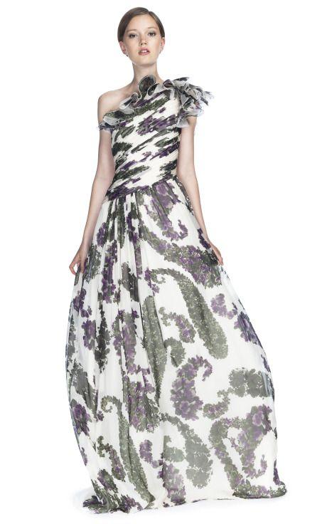 Shop Giambattista Valli Printed One Shoulder Gown at Moda Operandi