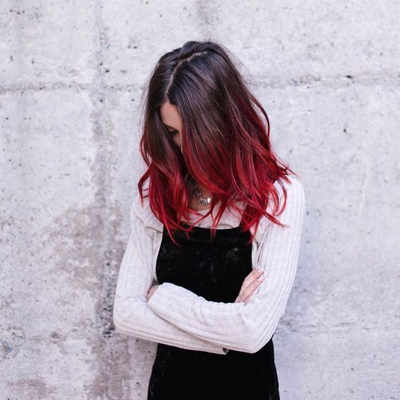 Colorful Hair Tumblr Red Ombre Hair Red Hair Tips Red Hair Color